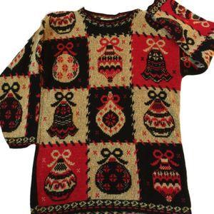 Dana Scott Red Gold Christmas Sweater M